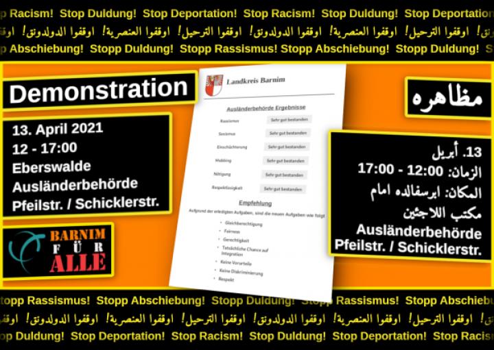 13.04. Kundgebung vor der Ausländerbehörde in Eberswalde