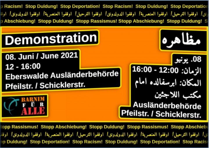 Demonstration an der Ausländerbehörde Eberswalde