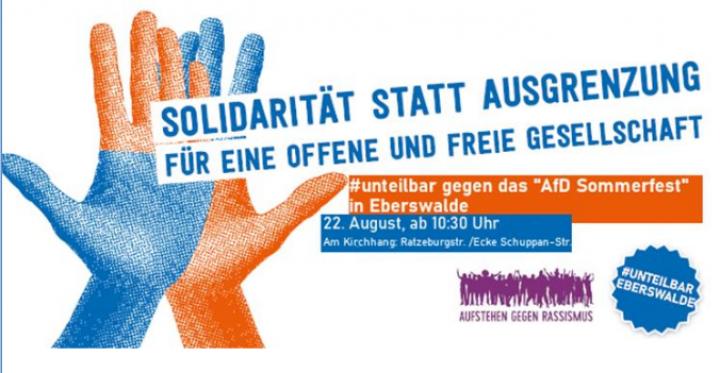 Gegenkundgebung! gegen das Sommerfest der AfD in Eberswalde